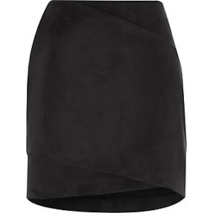 Black faux suede wrap front mini skirt