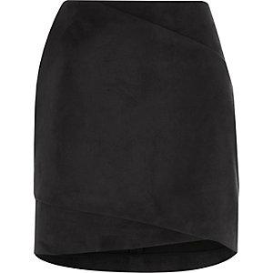 Black faux suede wrap front mini skirt