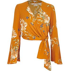 Oranje ballet crop top met overslag en bloemenprint