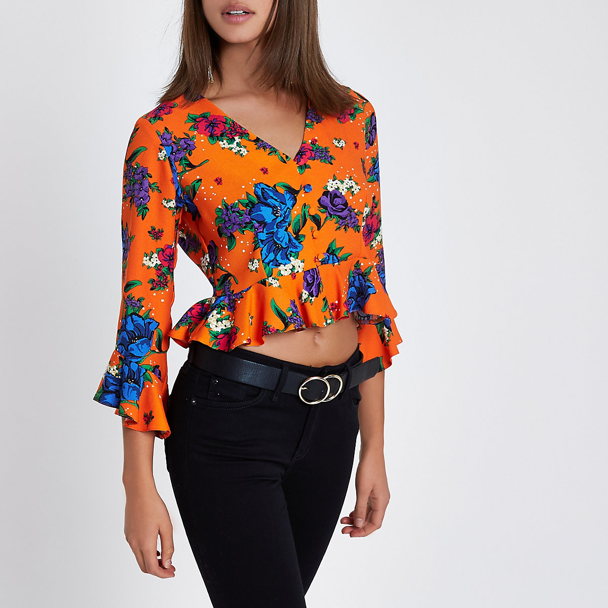 Orange floral print frill hem blouse