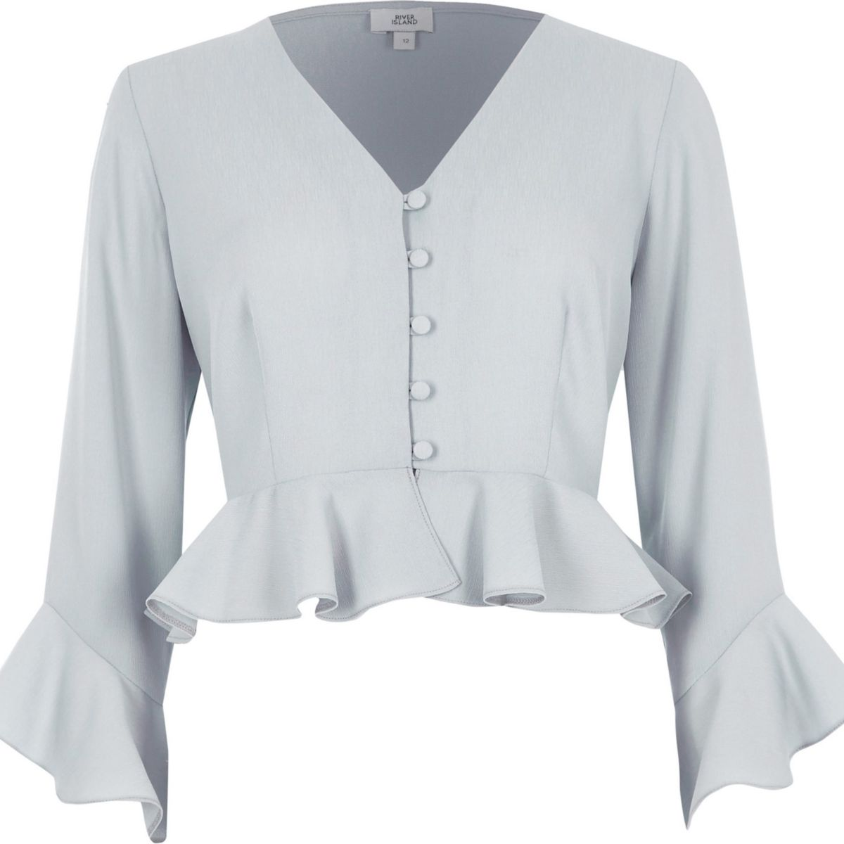 Light grey frill sleeve crop top