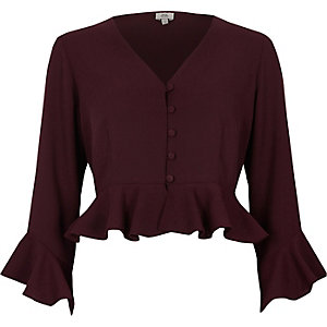 Dark red frill sleeve crop top