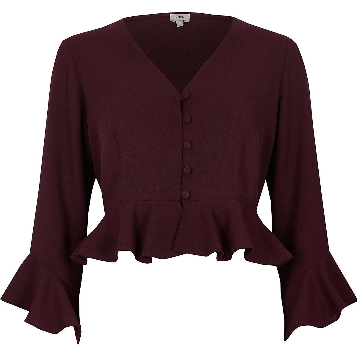 Dark red frill sleeve crop top