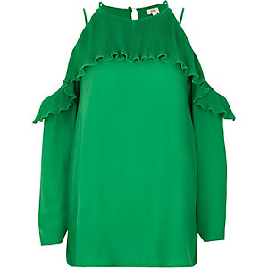 Green cold shoulder pleated frill blouse