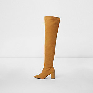Yellow over the knee pointed sock boots