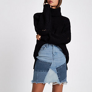 Blue patchwork high waisted mini denim skirt