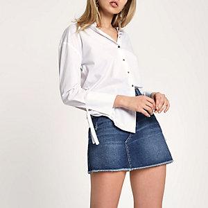 Dunkelblauer Minirock aus Jeans im Used-Look