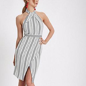 Weißes, gestreiftes Bodycon-Kleid