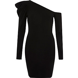 Mini-robe moulante noire asymétrique