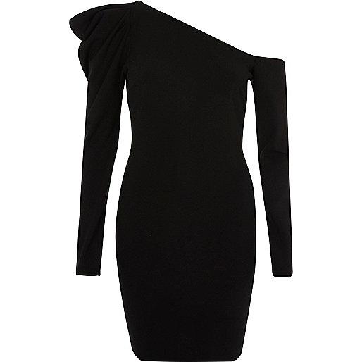 Black one shoulder bodycon mini dress