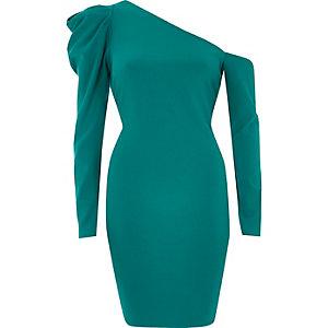 Mini-robe moulante verte asymétrique