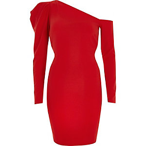 Red one shoulder puff sleeve bodycon dress