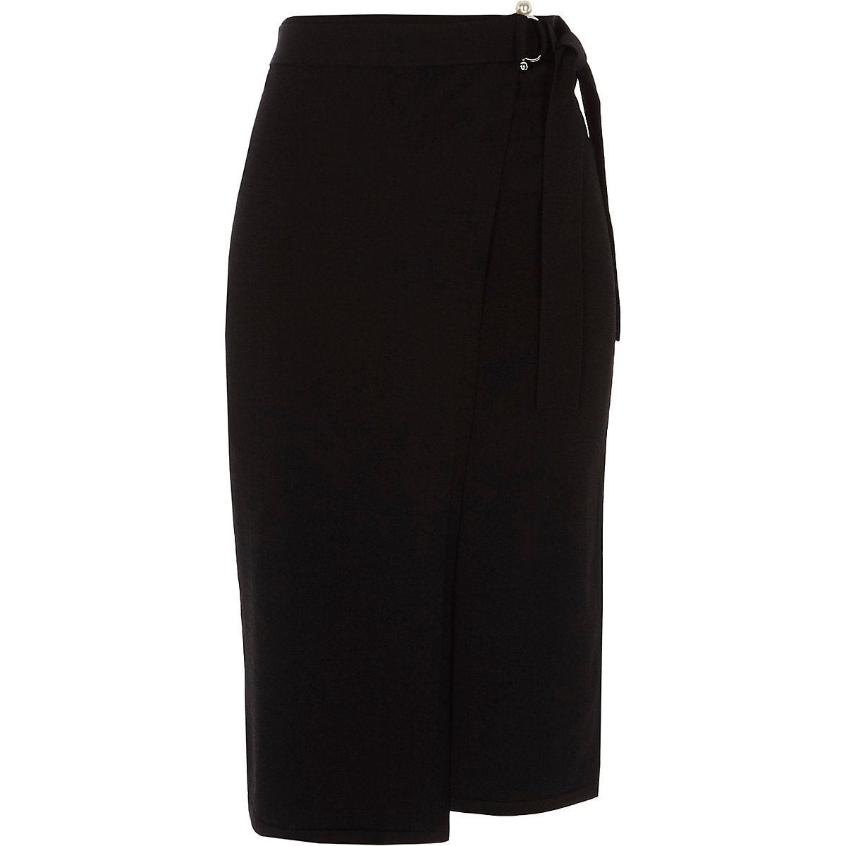 Black pearl D-ring wrap knitted pencil skirt