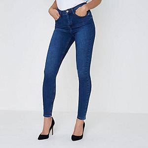 Harper - Middenblauwe skinny jeans met hoge taille
