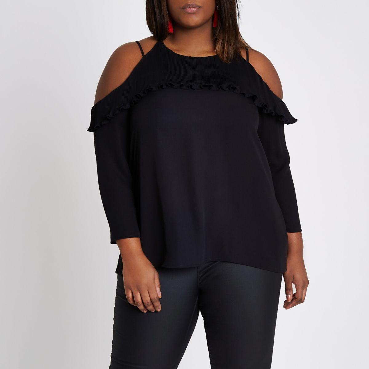 Plus black plisse frill cold shoulder top
