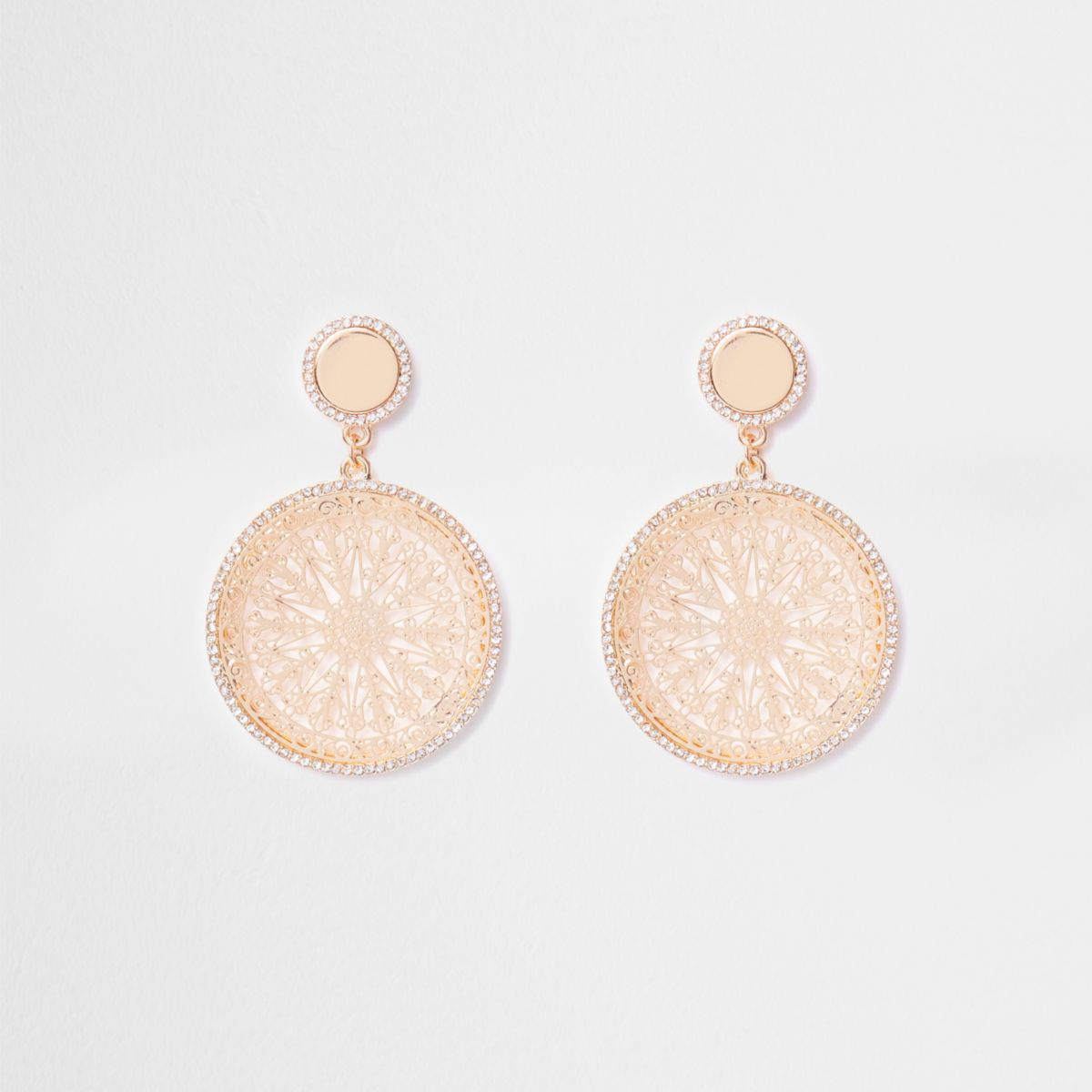 Gold tone filigree disc drop earrings