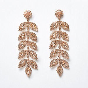 Rose gold tone gem leaf drop earrings