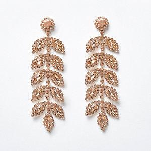 Rose gold tone gem leaf drop earrings
