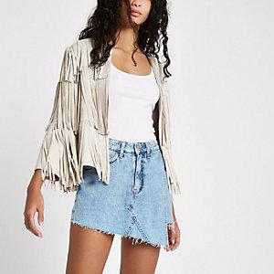 Jupe-short en jean bleu moyen