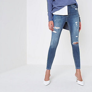 Harper - Middenblauw ripped skinny jeans met hoge taille