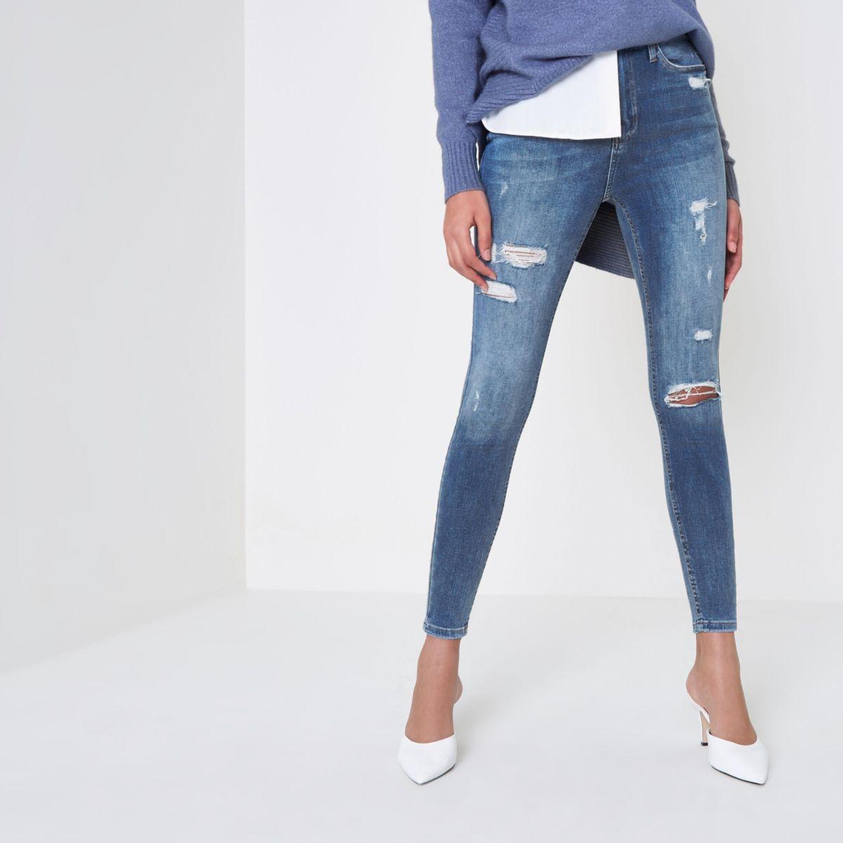 Harper - Middenblauw ripped skinny jeans met hoge taille