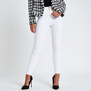 White Harper high waisted super skinny jeans