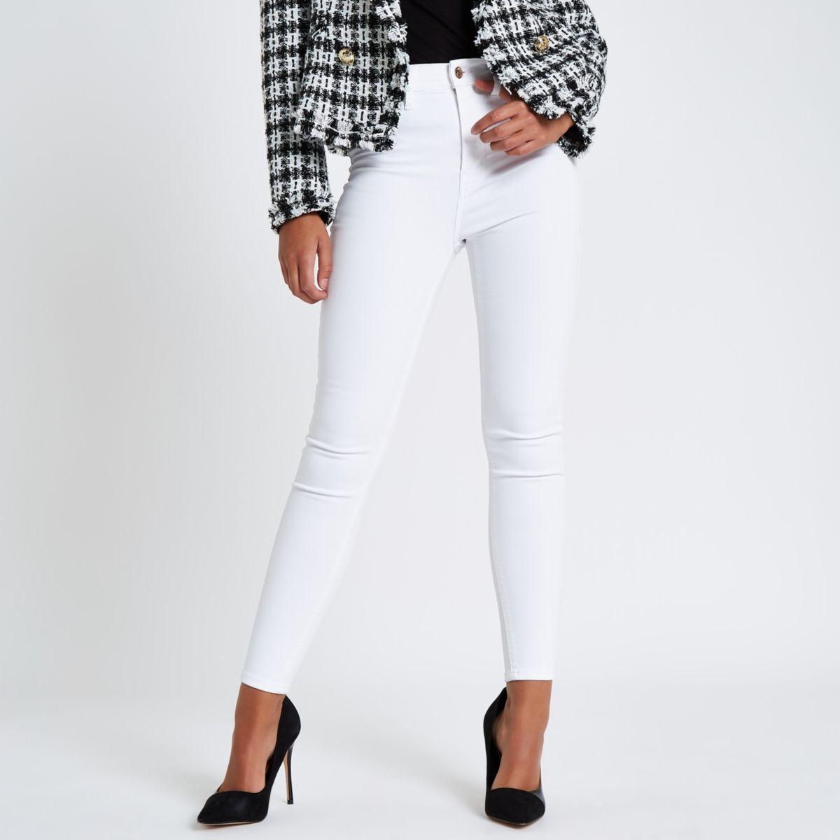 White Harper high waisted super skinny jeans