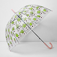 Ronde paraplu met kaktusprint
