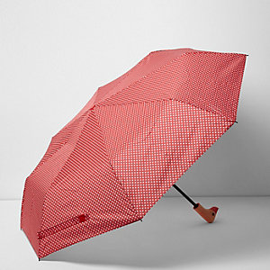 Red polka dot print duck umbrella