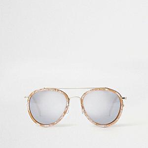 White marble aviator mirror sunglasses