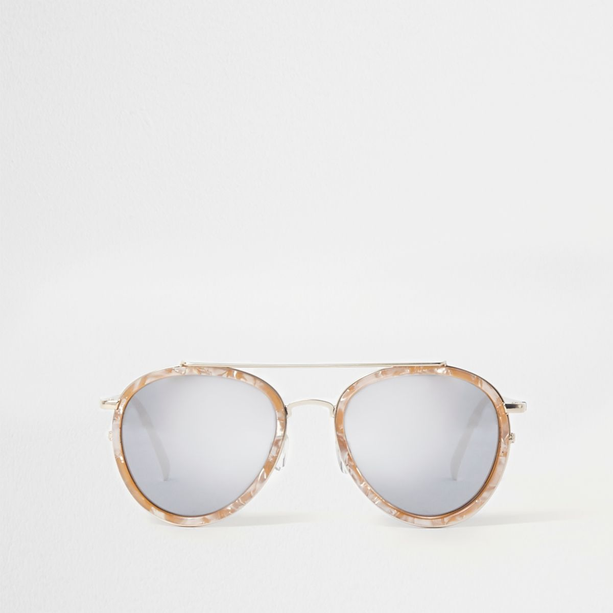 White marble aviator mirror sunglasses