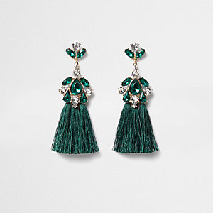 Green jewel tassel drop earrings