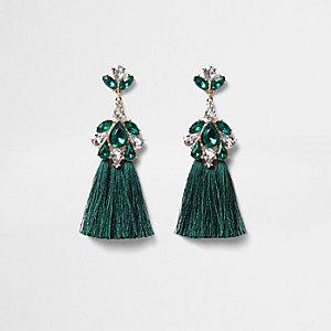 Green jewel tassel drop earrings