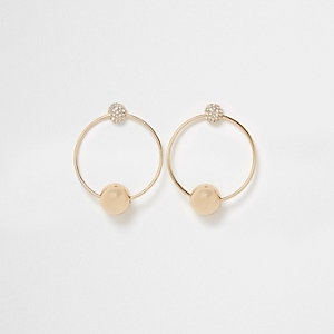 Gold tone hoop pave drop earrings