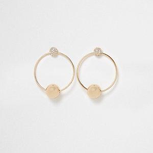 Gold tone hoop pave drop earrings
