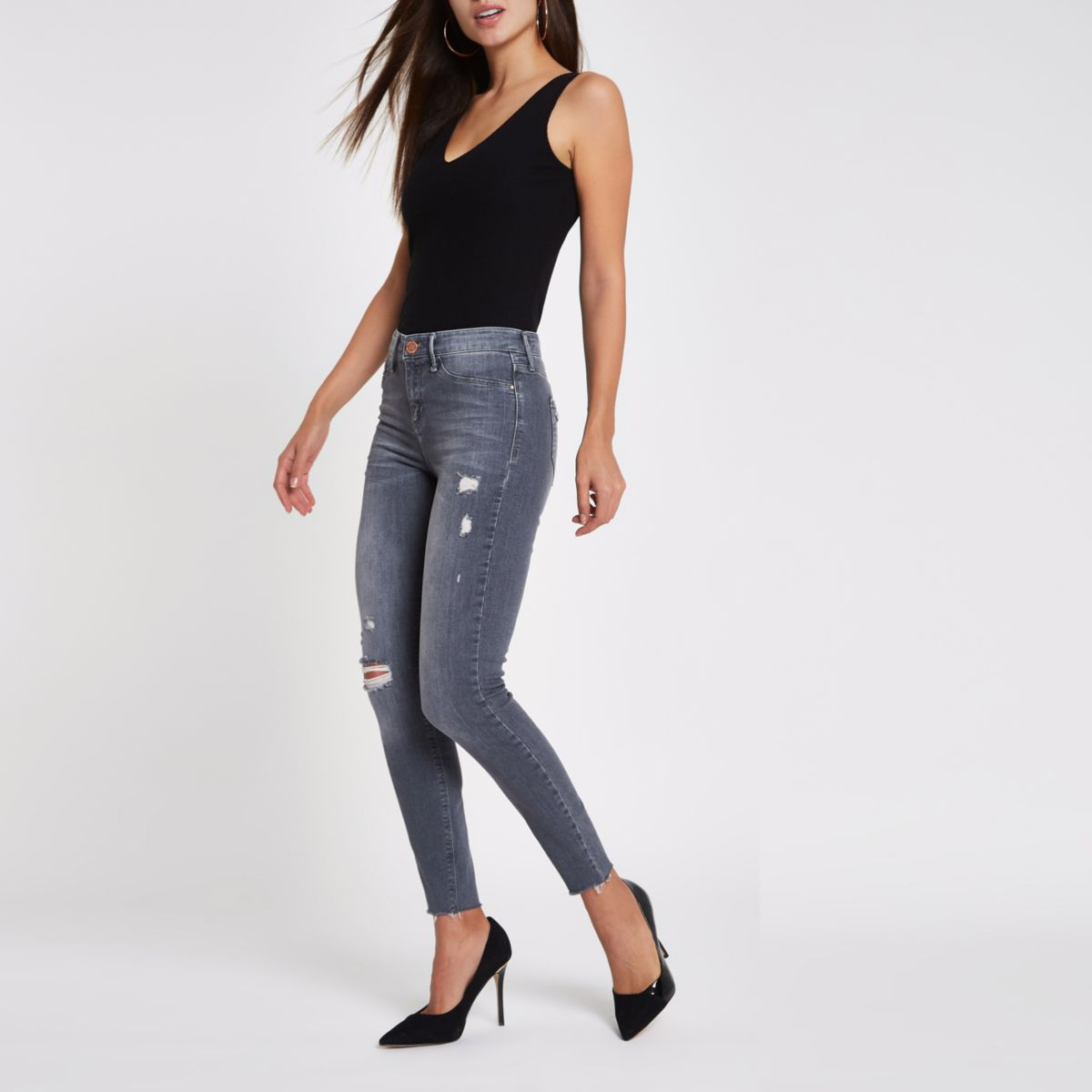 Molly - Grijze ripped skinny jegging