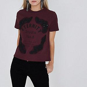 Petite burgundy lace applique T-shirt