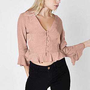 Petite pink textured polka dot frill blouse