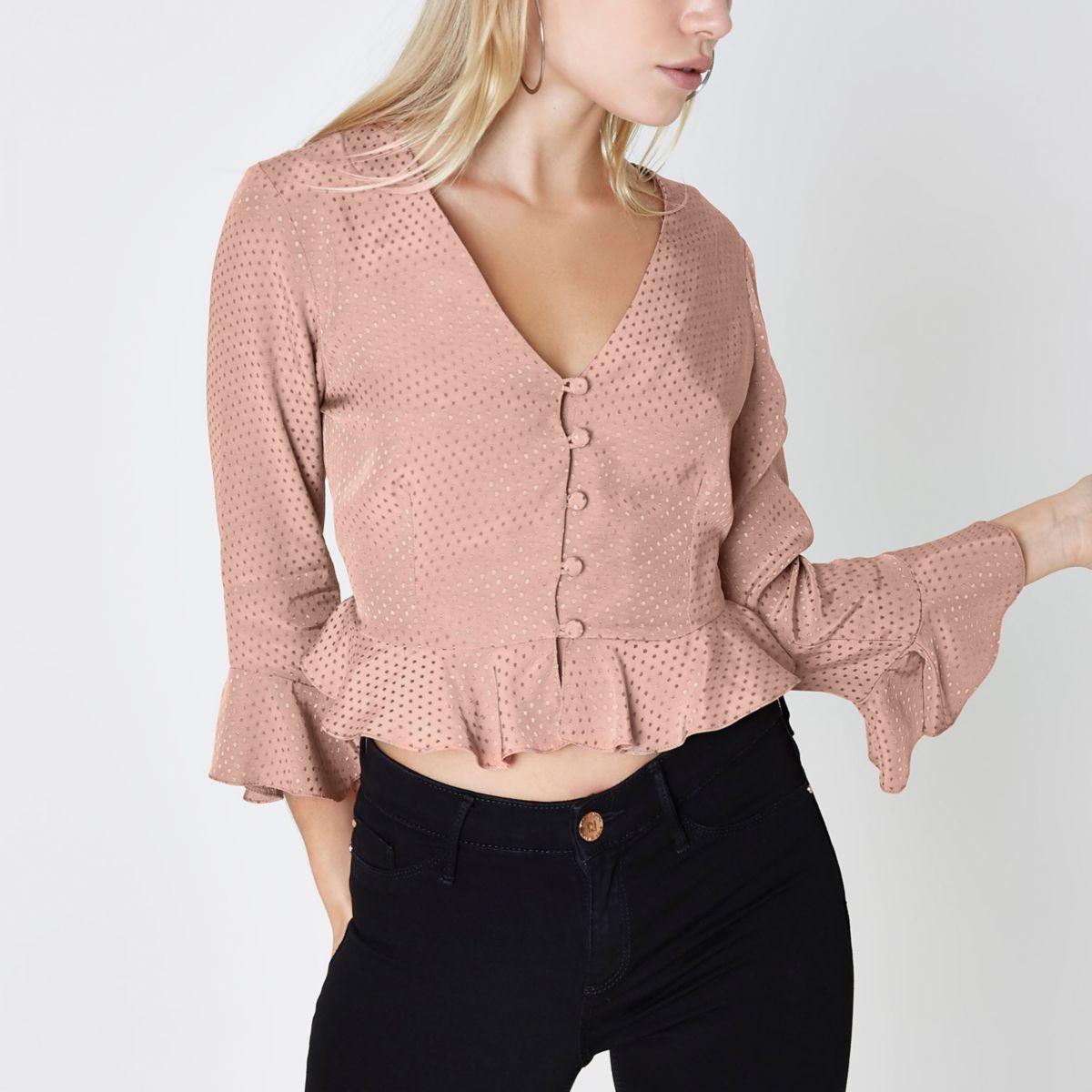 Petite pink textured polka dot frill blouse