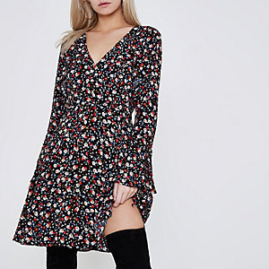 Petite black ditsy floral print tea dress