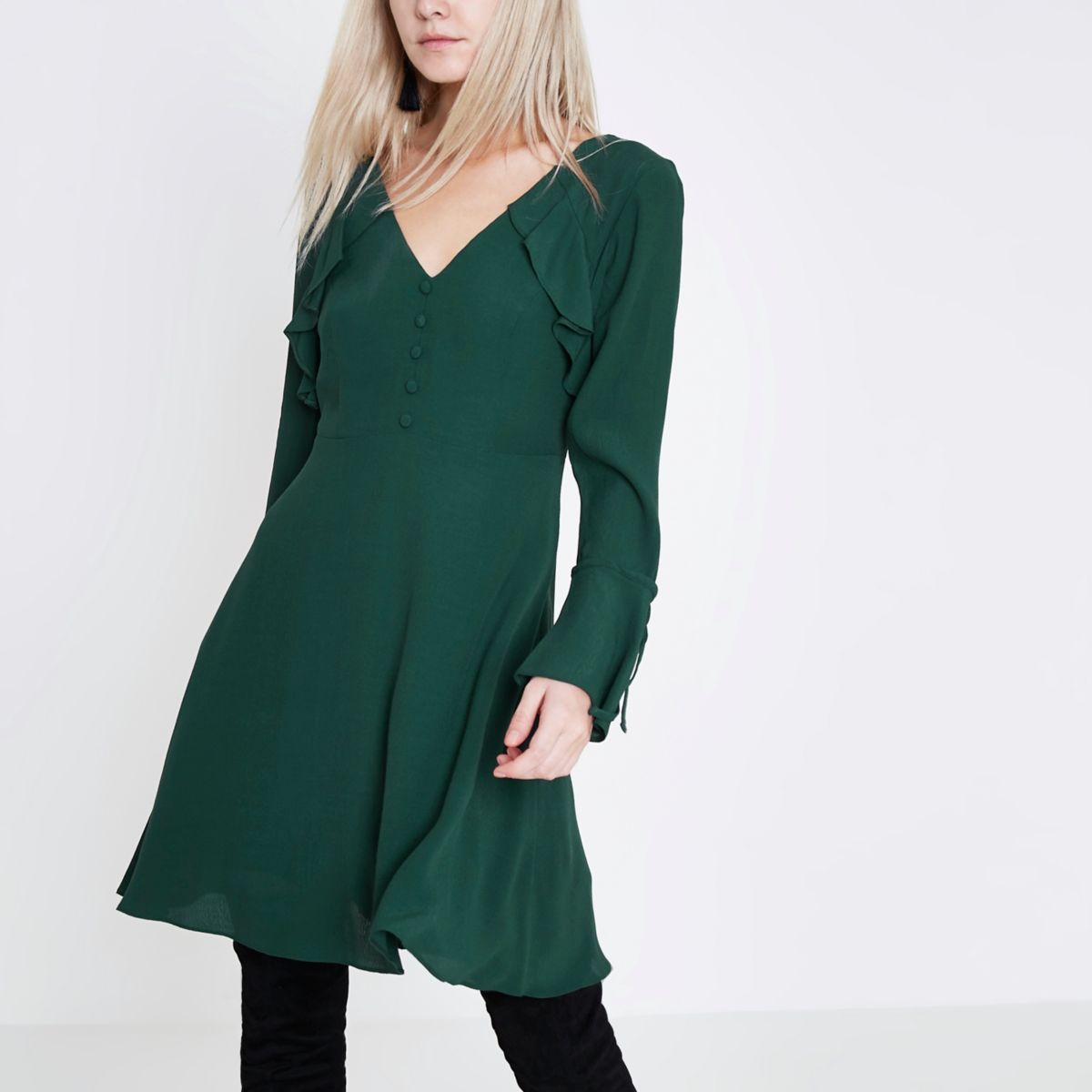 Petite dark green long sleeve tea dress