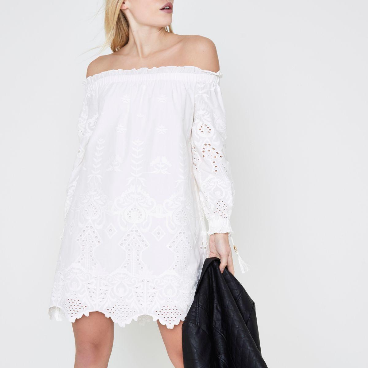 Petite cream embroidered bardot swing dress