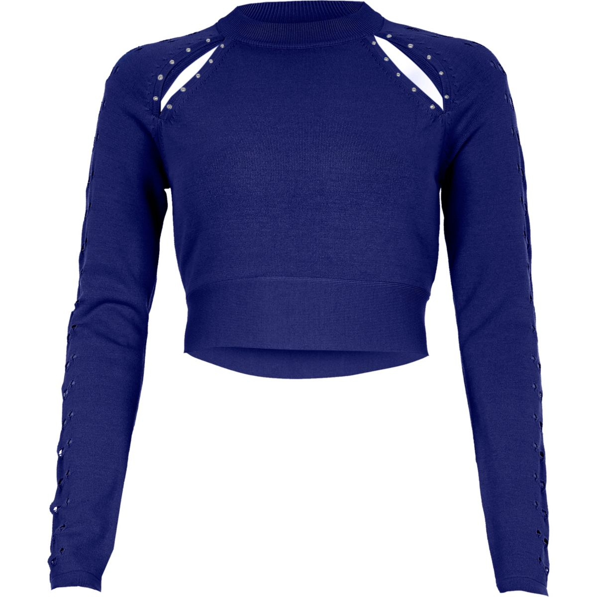 Bright blue cut out cropped long sleeve top