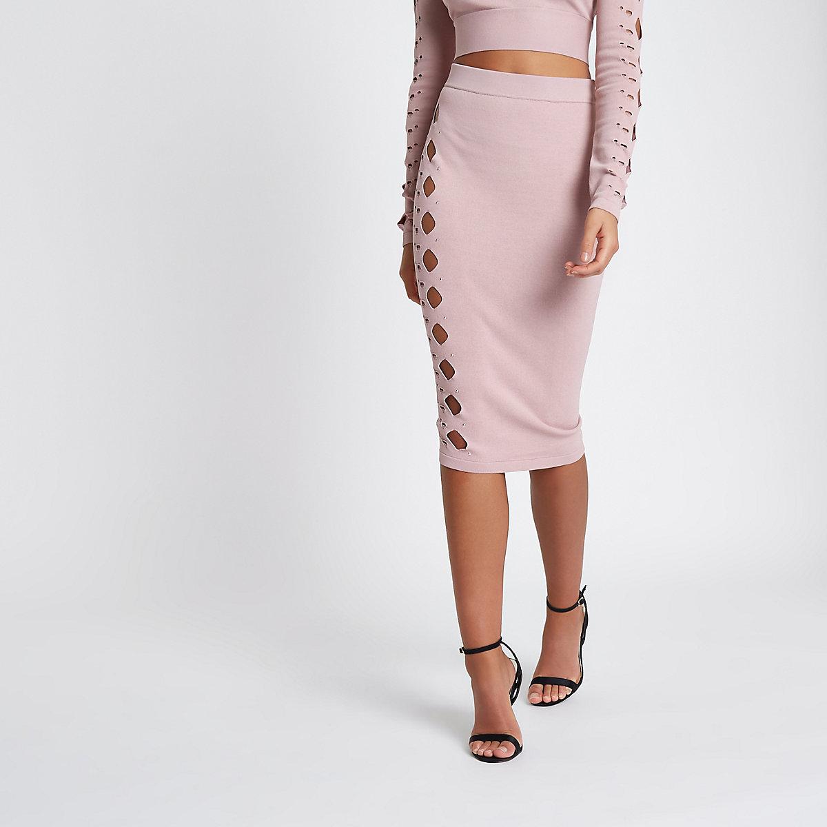 Light pink cut out studded pencil skirt