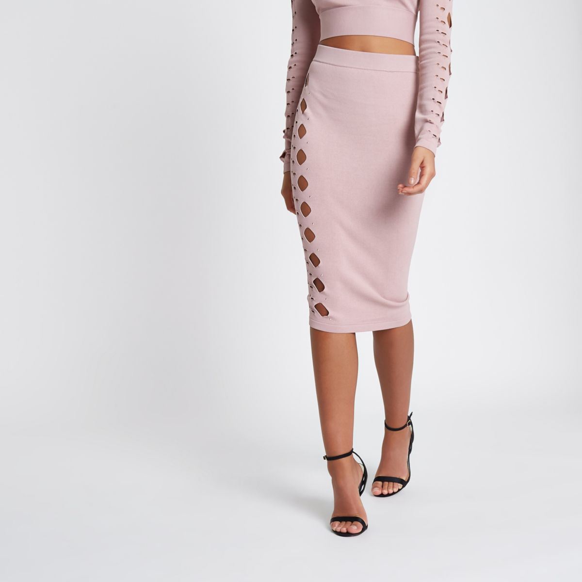 Light pink cut out studded pencil skirt