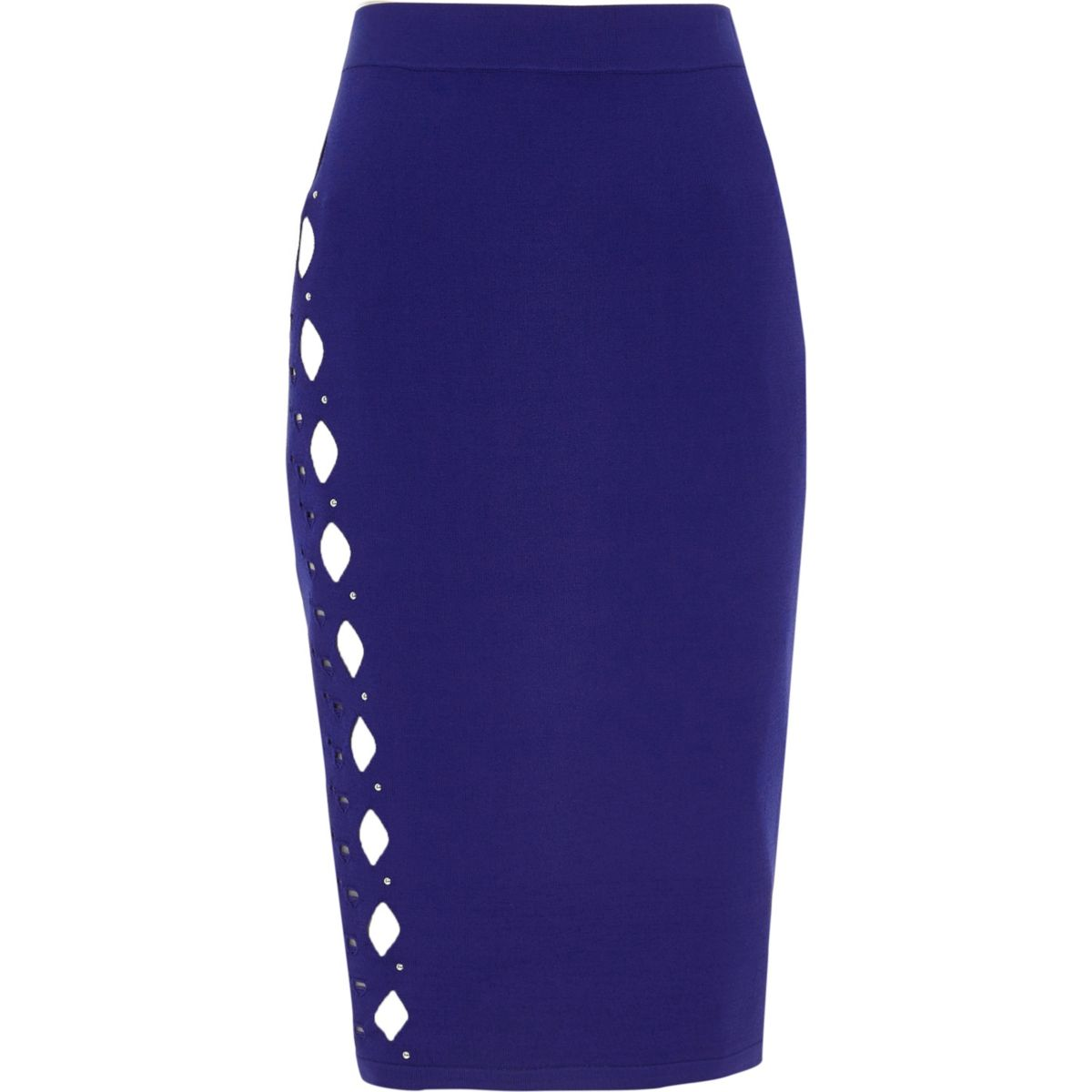Bright blue cut out studded pencil skirt