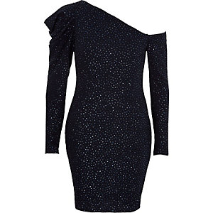 Marineblaues, glitzerndes Kleid mit Puffärmeln