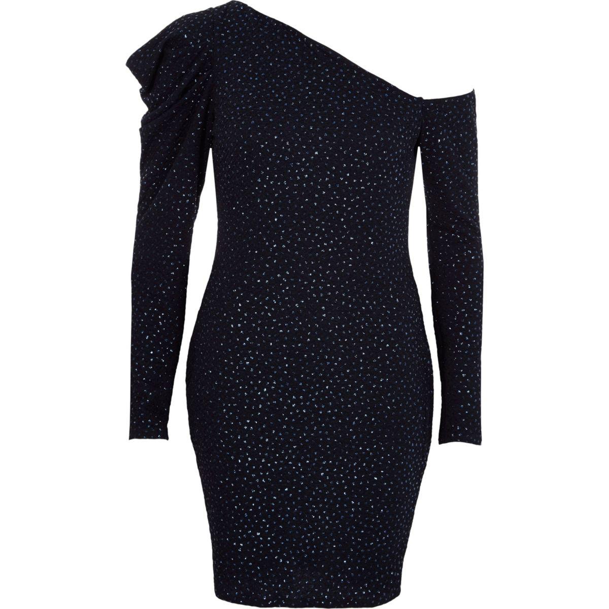 Navy one shoulder puff sleeve glitter dress