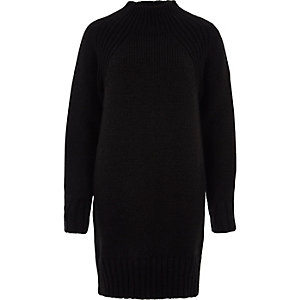 Black high neck knitted sweater dress