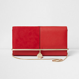 Red bar top charm clutch bag